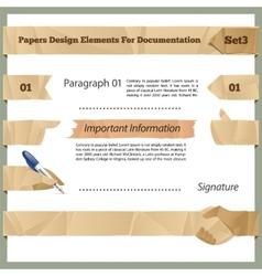 Crumpled paper design elements for documentation vector