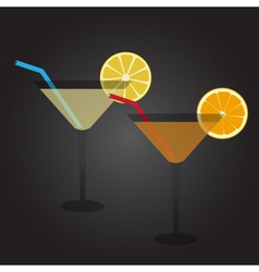 Two glasses full of cocktail drink at party eps10 vector