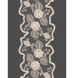 Seamless lace vertical ribbon with abstract floral vector