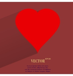 Red heart web icon flat design vector