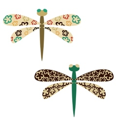 Sketches of bright colourful dragonflies vector