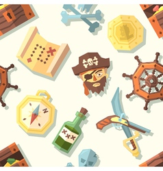 Seamless pattern with pirate icons vector