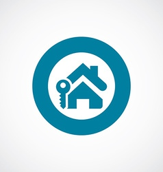 Home key icon bold blue circle border vector