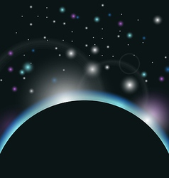 Space background with earth and sunrise - vector