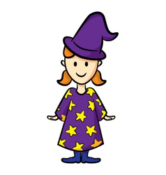 Cute girl wearing witch uniform vector