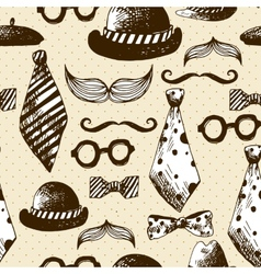 Hand drawn hipster seamless background vector