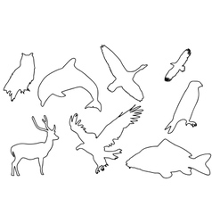 Animal outlines vector