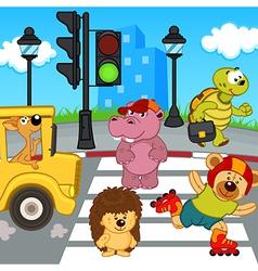 Animals go across crosswalk vector