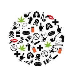 Smoking icons in circle vector