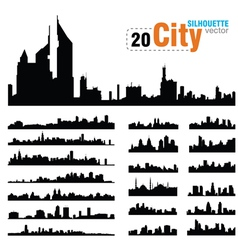 Set of city skylines vector
