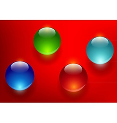 Colorful glass balls on a red background vector