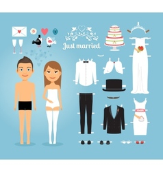 Just married paper dolls with set of wedding stuff vector