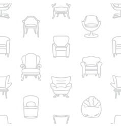 Seamless white pattern of armchairs vector