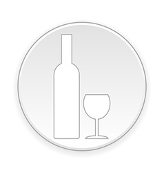 Bottle and glasse button vector