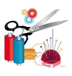 Tools and materials for sewing vector