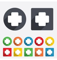 Medical cross sign icon diagnostics symbol vector