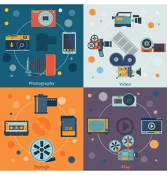 Photo video icons flat vector