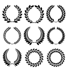 Set from black laurel wreath vector
