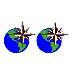 The emblem of the compass rose vector