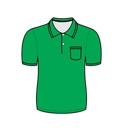 Green polo shirt outline vector