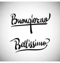 Buongiorno greetings hand lettering set vector