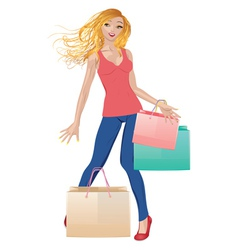 Shopping girl in casual wear vector