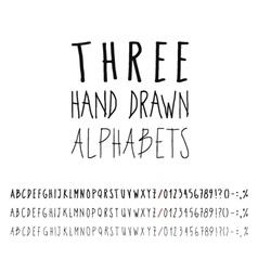Three hand drawn grunge alphabets collection vector