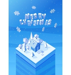 Image of the blue wooden christmas house vector
