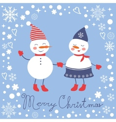 Beautiful christmas card with two frosties holding vector