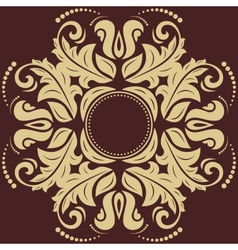 Damask pattern orient golden ornament vector