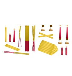 Set of joss sticks and candle for make merit vector
