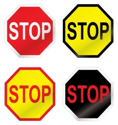 Stop road sign variation vector