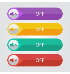 Flat buttons sound off vector