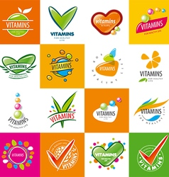 Large set of logos vitamins vector