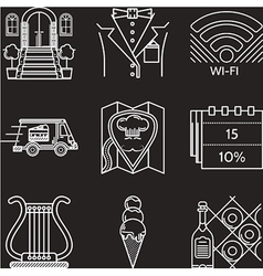 Restaurant industry white line icons vector