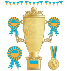 Ukraine football trophy vector