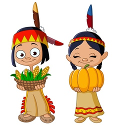 American indian children vector