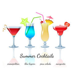 Summer cocktails set isolated vector