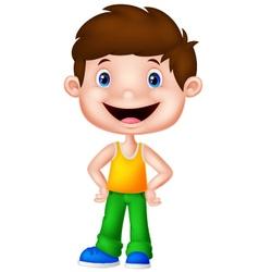 Cute boy cartoon posing vector