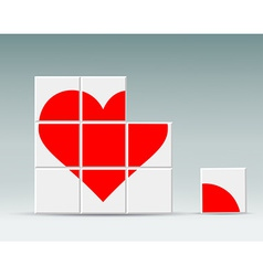 Red heart folded cubes vector