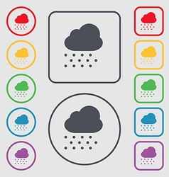 Snowing icon sign symbol on the round and square vector