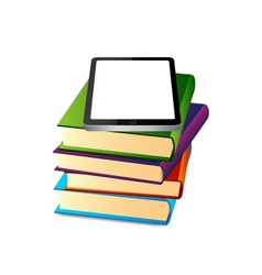 Books ans tablet pc vector