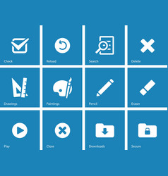 Application interface icons on blue background vector