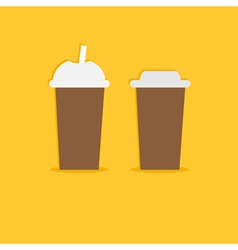 Two disposable coffee paper cups icon flat design vector