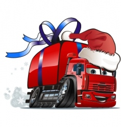 Christmas delivery truck vector
