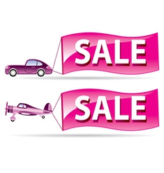 Sale flyer coming by car and airplane vector