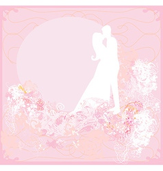 Greeting card with silhouette of romantic couple vector