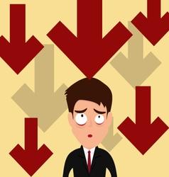 Business failure down trend graph make worried vector