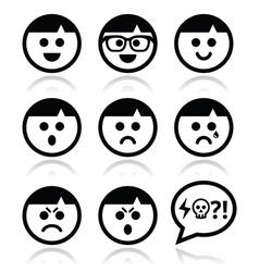 Smiley faces avatar icons set vector