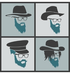Icons hairstyles beard and mustache hipster full vector